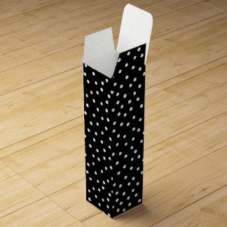 Black And White Confetti Dots Pattern Wine Gift Box