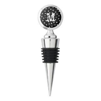 Black And White Confetti Dots Pattern Wine Stopper