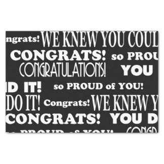 Black and White Congrats grad Tissue Paper