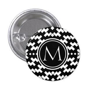 Black and White Cool Chevron 1 Inch Round Button