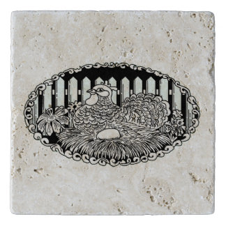 Black and White Country Chicken Trivet
