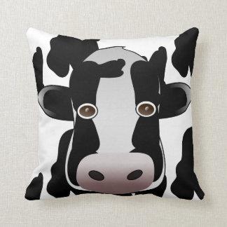 Black and White Cow Animal Print Throw Pillow