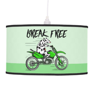 Black and white cow breaking free hanging pendant lamp