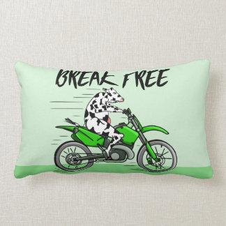 Black and white cow breaking free lumbar pillow