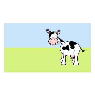 Black and White Cow Cartoon. Business Card Templates
