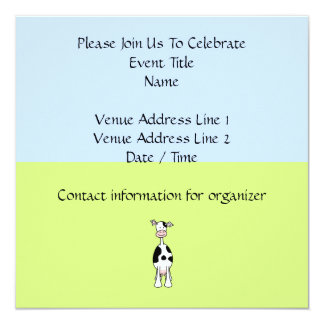 """Black and White Cow Cartoon. Front. 5.25"""" Square Invitation Card"""