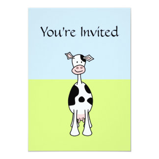 """Black and White Cow Cartoon. Front. 5"""" X 7"""" Invitation Card"""
