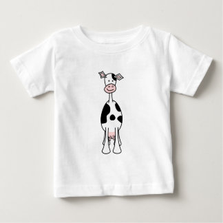 Black and White Cow Cartoon. Front. Tees