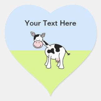 Black and White Cow Cartoon. Heart Sticker