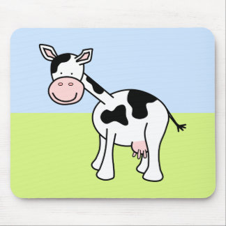 Black and White Cow Cartoon. Mousepads