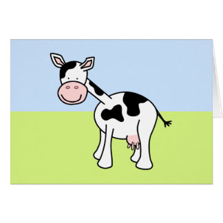 Black and White Cow Cartoon. Note Card