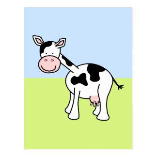 Black and White Cow Cartoon. Postcard