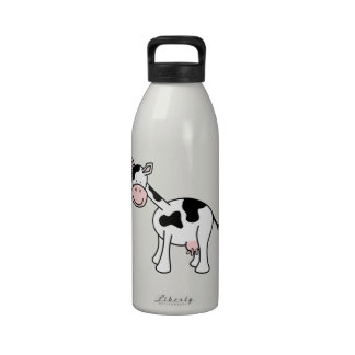 Black and White Cow Cartoon. Drinking Bottle