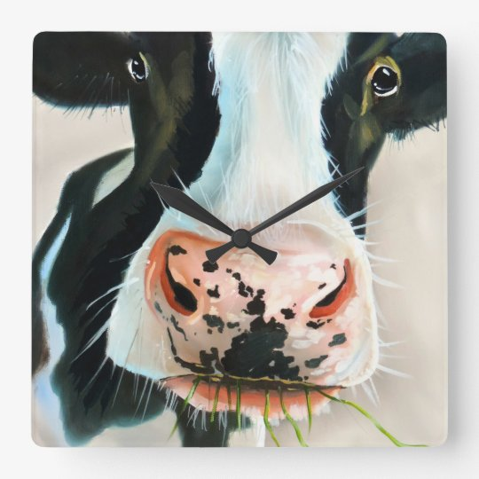 Black and white cow face Gordon Bruce art Wallclocks