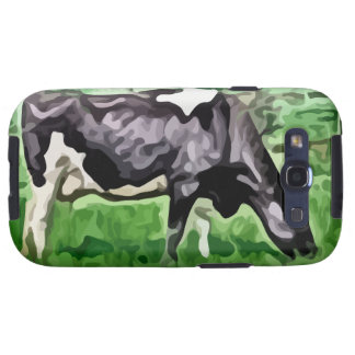 Black and white cow grazing painting. galaxy SIII cases