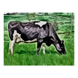 Black and white cow grazing painting. poster