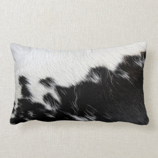 Black and White Cow Hide Lumbar Pillow