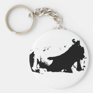 Black and White Cow in Ink Basic Round Button Keychain