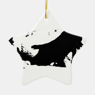 Black and White Cow in Ink Ceramic Star Ornament
