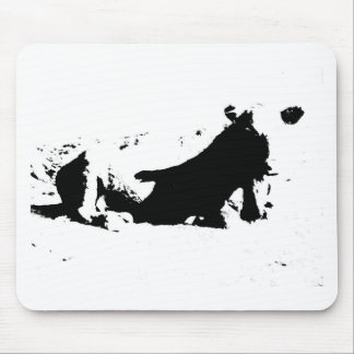 Black and White Cow in Ink Mouse Pad