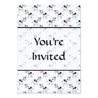 """Black and White Cow Pattern. 5"""" X 7"""" Invitation Card"""