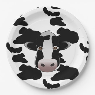 Black and White Cow Pattern 9 Inch Paper Plate