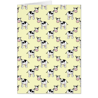 Black and White Cow Pattern on Light Yellow Greeting Card