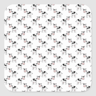 Black and White Cow Pattern. Square Sticker