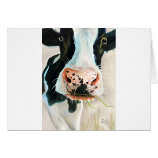 Black and white cow portrait painting card