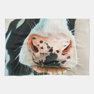 Black and white cow portrait painting hand towel