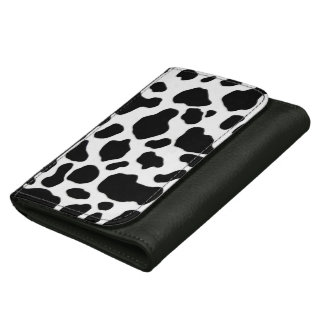 Black and white cow print leather wallet