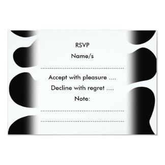 """Black and White Cow Print Pattern. 3.5"""" X 5"""" Invitation Card"""