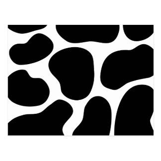 Black and White Cow Print Pattern. Postcard