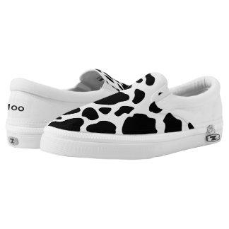 Black and White Cow Print Zipz Slip On Shoe