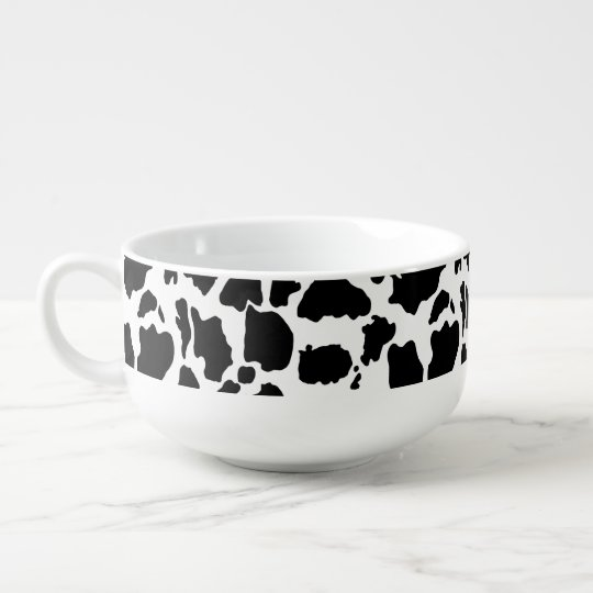 Black and White Cow Skin Animal Print Soup Bowl With Handle