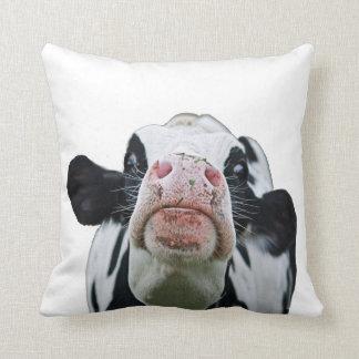 Black and white cow throw pillow