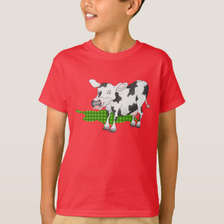 Black and white cow with green shadow t-shirt
