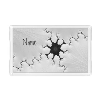 Black and White Cracked Fractal Art Add Your Name Acrylic Tray