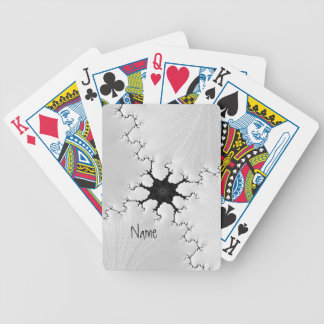 Black and White Cracked Fractal Art Add Your Name Bicycle Playing Cards