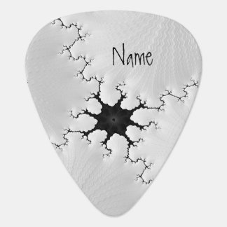 Black and White Cracked Fractal Art Add Your Name Guitar Pick