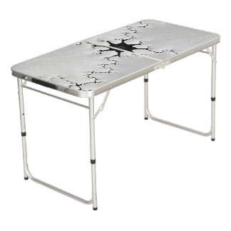 Black and White Cracked Fractal Art Beer Pong Table