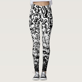 Black and White Crater Texture Leggings