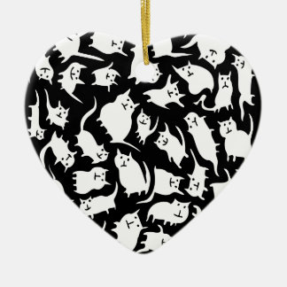 Black and White Crazy Cats Heart Ornament