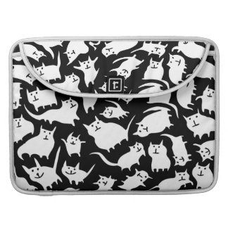 Black and White Crazy Cats MacBook Pro Sleeve