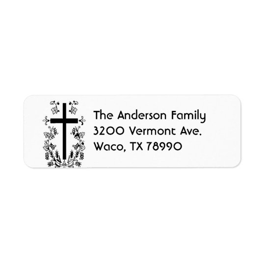 Black and White Cross Address Label