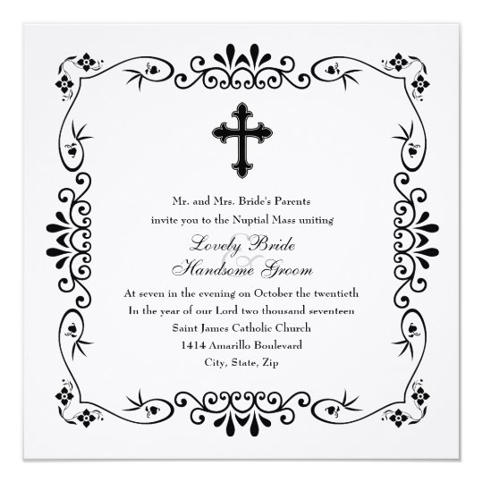 Black and White Cross Catholic Wedding Invitation