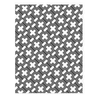 Black and White Cross  Minimalist Geometric Postcard