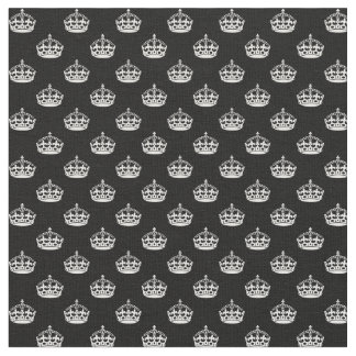 Black and White Crowns Fabric