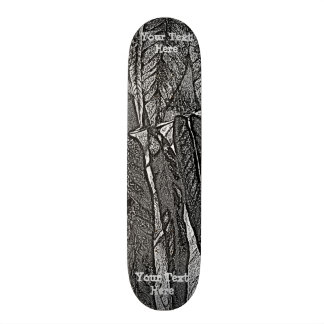 black and white curves modern abstract leaf design skate deck