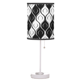 Black and White Curvy Abstract Design Table Lamp